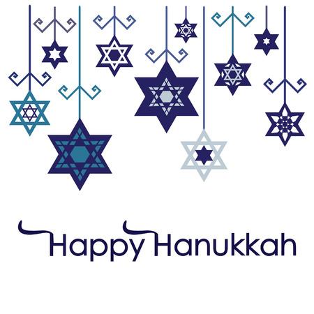 행복 하누카 글자와 눈송이 장식 만 및 교수형 유대인 휴일 하누카에 대 한 벡터 일러스트 레이 션.