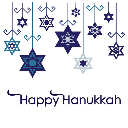 A vector illustration for Jewish Holiday Hanukkah with hanging stars and snowflakes decoration with Happy Hanukkah lettering.