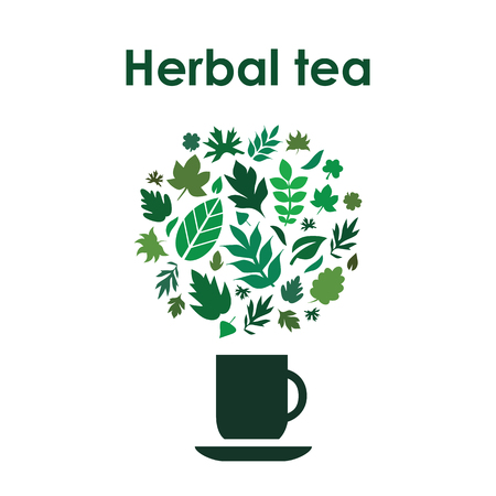 A vector illustration for herbal tea with cup and leaves in circle design on white background.
