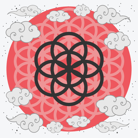 A vector illustration of an ancient symbol with Chinese art clouds.