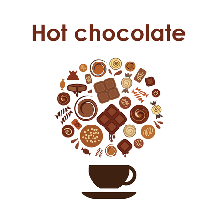 A vector illustration of hot chocolate cup on white background.