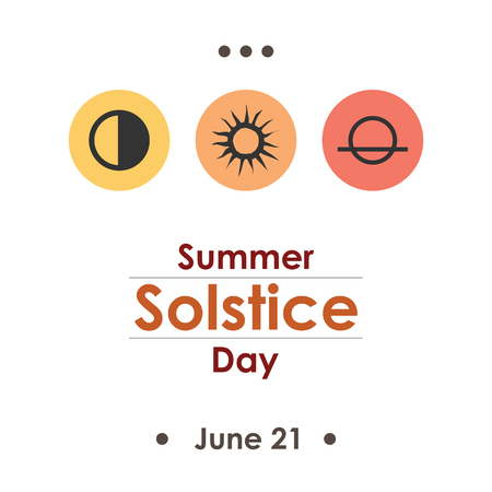 summer solstice: A vector illustration for summer solstice day in June poster design on white background.