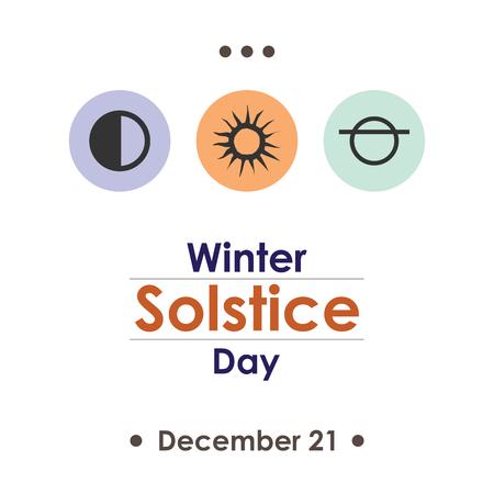 summer solstice: A vector illustration for winter solstice day in December poster design on white background.