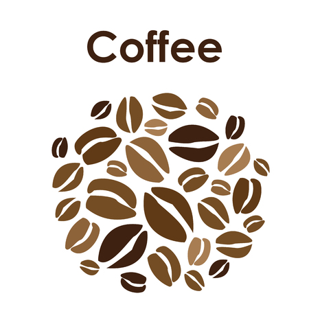 vector illustration / coffee beans / circle design Ilustração
