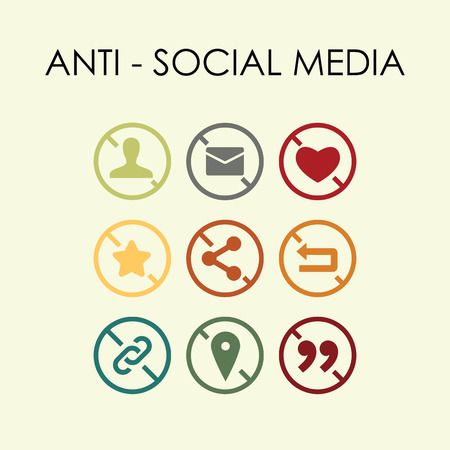 vector illustration of anti social media icons for alternative platforms concepts