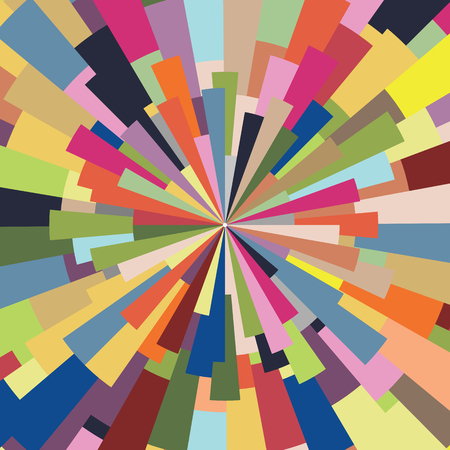 vector illustration of abstract background with colorful rectangles in concentric circle shape for abstract backgrounds