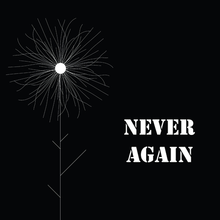 vector illustration for never again concept for commemoration cards with black background and stylized white flower Illustration
