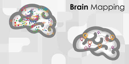 カラフルなドットとスポットと位置のシンボルを持つ脳マッピング技術のためのベクトルイラスト