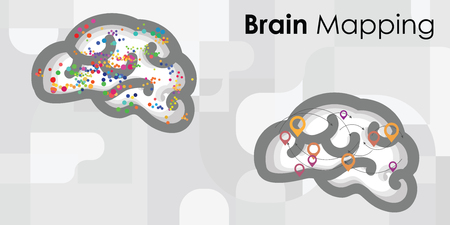 vector illustration for brain mapping technology with colorful dots and spots and location symbols