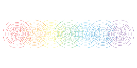 vector horizontal abstract illustration of seven chakras symbols and colors with flat line stylized circular shine for body and spiritual energy training designs Illustration