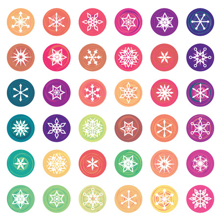 vector illustration for colored snowflakes