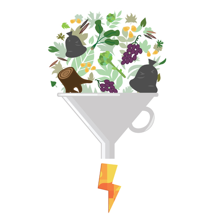 vector illustration of biofuel concept with green leaves filter and drop of oil as a result of biomass proceeding Illustration