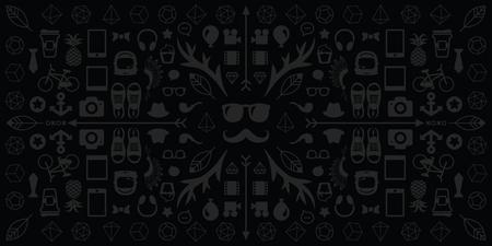 vector illustration of mafia and criminals symbols black and white horizontal banner if flat line style Illustration