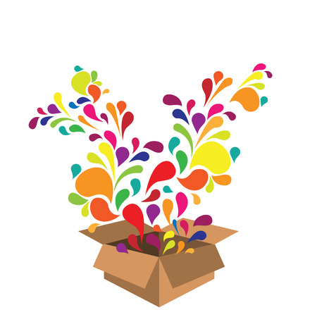 vector illustration of colorful swirls exploding from carton box for surprising and new ideas creation