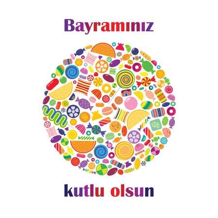vector illustration of candies in circle shape for greetings Bayraminiz Kutlu Olsun  in Turkish language translated as Happy Holidays Illustration