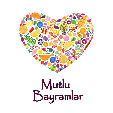 Candies in heart shape for greetings Mutlu Bayramlar Illustration