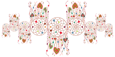 vector illustration of dream catcher decoration for rustic and decorative horizontal designs