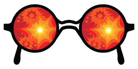 vector illustration of glasses explosions reflecting in glasses for fire danger concepts