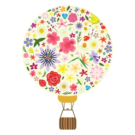 vector illustration of flowers in hot air balloon shape for greetings and floral gifts visuals and emblems