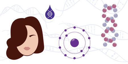 vector illustration of woman face and different cosmetic and care products for hair repairing treatment with dna technologies