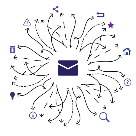 vector illustration of envelope icon and different arrows for mail sorting extensions and spam filters
