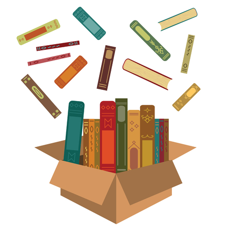 vector illustration of books in box for reading subscription and delivery services