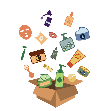 Box with cosmetics for skincare products subscription and delivery services vector illustration.