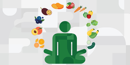 vector illustration of lotus posture yoga silhouette and vegetables around for vegan menu options and healthy nutrition cooking concepts