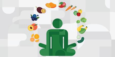 Ilustración vectorial de silueta de yoga de postura de loto y verduras alrededor para opciones de menú vegano y conceptos de cocina de nutrición saludable