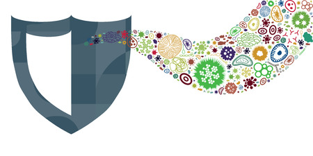 vector illustration of bacteria and pathogens in flow or stream design for health protection concepts with shield