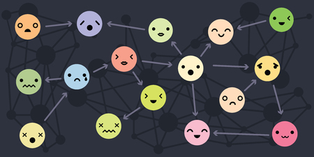 vector illustration for variety of moods for personality types and relations concepts in connected circle design for psychotherapy group or family dynamics concepts Illustration