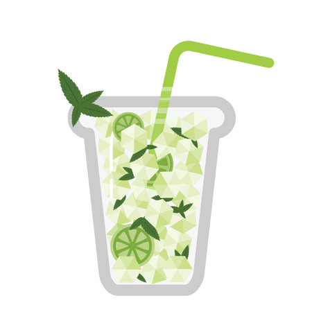 vector illustration for lemon infused healthy drink or mojito alcohol cocktail with lime and mint in glass Ilustração
