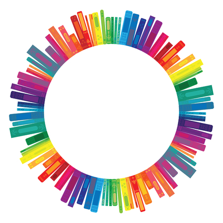vector illustration of books in rainbow colors in round frame shape for emblem or name template