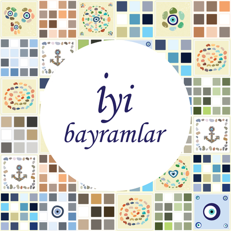 vector illustration of greeting card with Turkish eye charms pattern and Iyi bayramlar phrase which means Happy holidays