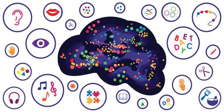 Vektorillustration verschiedener sensorischer Spielzeuge und motorischer Werkzeuge für die Entwicklung des Gehirns und des Denkens Vektorgrafik