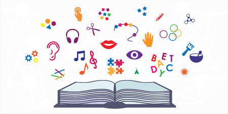 vector illustration of different sensory games and book for multisensory reading concepts