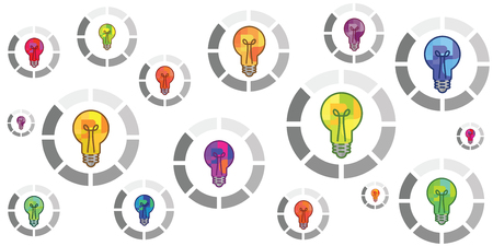 vector illustration of colorful bulbs with round loading bar for creation process concepts Vectores