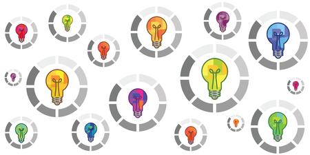 Vektorillustration von bunten Glühbirnen mit runder Ladeleiste für Erstellungsprozesskonzepte Vektorgrafik