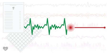 vector illustration for cardiograph chart with stop point for finish or death concepts on medical background