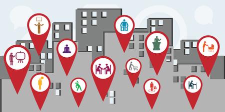 Ilustración vectorial de los iconos de los trabajadores del servicio público para la gestión y los conceptos de administración de la ciudad