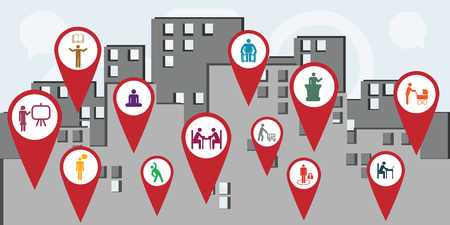 vector illustration of public service workers icons for managing and city administration concepts Ilustração