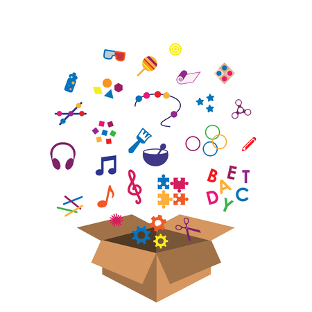 vector illustration of box with multisensory toys for kids and toddlers Ilustrace