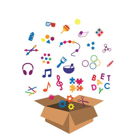 Vektor-Illustration der Box mit multisensorischen Spielzeugen für Kinder und Kleinkinder