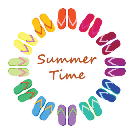 vector illustration of circle frame made from colorful summer slippers for summer time and vacation posters