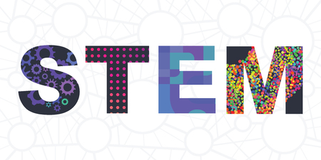 vector illustration of stem letters for multidisciplinary education method based on science engineering technology and mathematics