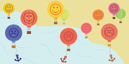 vector illustration for variety good and bad mood in hot air balloon shapes showing ups and downs in peoples lives