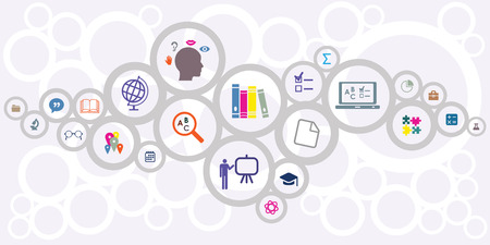 vector horizontal illustration of connected circles with educational icons for learning and teaching concepts