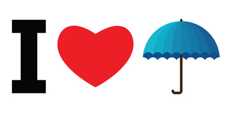vector illustration of umbrella with heart for I love rain concepts and designs