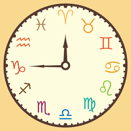 vector illustration of zodiac circle stylized as clock design in retro vintage style colors with arrows 矢量图像