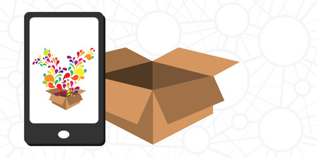 vector illustration of augmented reality packaging with box and phone revealing new options